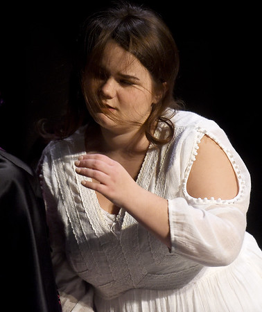"""Briana Blair portrays Wendla Bergman during the Dream Theatre Company production of """"Spring Awakening"""" during rehearsal on Wednesday night at the Joplin Little Theatre.<br /> Globe 
