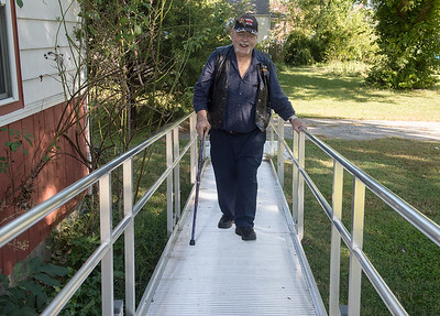 The United States Department of Veterans Affairs helped build a ramp at Maurice Filson's house in Joplin. Globe | Roger Nomer