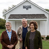 (from left) Carol Gaines, Joe and Shirley Yokley talk about the history of the Shiloh Schoolhouse on Wednesday at Liberal.<br /> Globe | Roger Nomer