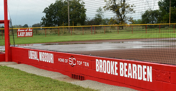 A revamped Liberal High School softball field, courtesy of ESPN, acknowledges softball player Brooke Bearden as a Sportscenter Top 10. Bearden was acknowledged for her courage after suffering a stroke.<br /> Globe   Laurie Sisk