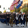 Members of the Joplin High School JROTC help kick off the first Joplin High School Homecoming Parade in decades on Wednesday night on Main street.<br /> Globe | Laurie Sisk