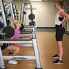 Natalie Staib, left, and Shaenna White, both Missouri Southern freshmen from Anderson, work out at the Beimdiek Recreation Center on Tuesday.<br /> Globe | Roger Nomer