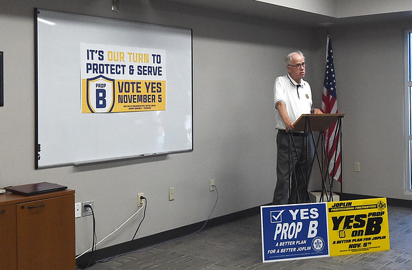 Warren Turner voices his support of Prop B on behalf of the American Legion Post 13 during a press conference on Wednesday at the Joplin Area Chamber of Commerce.<br /> Globe | Laurie Sisk