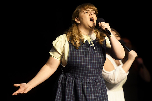 "Jane Moore portrays Anna during the Dream Theatre Company production of ""Spring Awakening"" during rehearsal on Wednesday night at the Joplin Little Theatre.<br /> Globe 