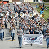 Members of the Joplin Middle School East, North and South Bands join together to entertain the crowd during Missouri Southern's 2019 Homecoming Parade on Saturday at MSSU.<br /> Globe | Laurie Sisk