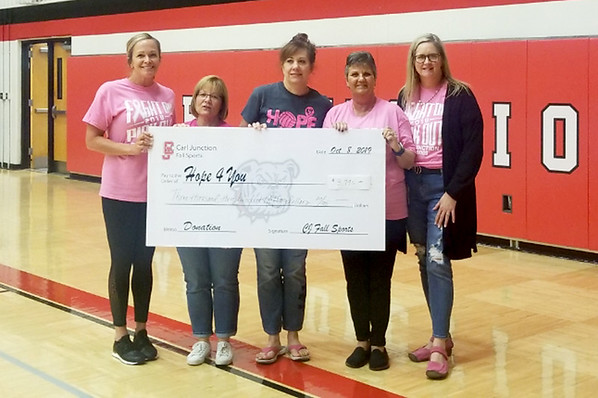 From the left: Kerri Sundy, Hope 4 You board member Kim Sanders, Nancy Simon, Hope 4 You President Sharon Clark and Jennifer Wilson hold a check for $3,975 for the Hope 4 You Breast Cancer Foundation. The funds were raised during the Carl Junction volleyball team's Pink Out Night on Tuesday at CJHS.<br /> Globe | Laurie Sisk