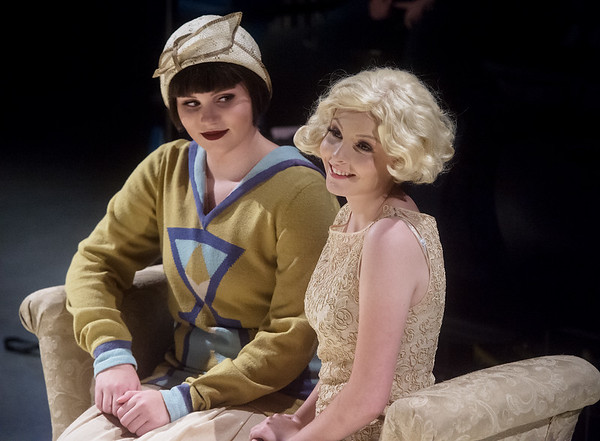 """Aubrey Chrisenbery, junior, left, and Maggie Thompson, senior, rehearse a scene from """"The Great Gatsby"""" on Tuesday at Joplin High School.<br /> Globe 