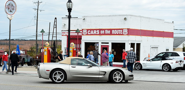 Corvette enthusiasts from Springfield's Southwest Missouri Corvette Club and Branson's Tri-Lakes Corvette Club converge on Cars on the Route in Galena on Saturday. Sixteen Corvettes made their way from Springfield with various stops along the way and a final destination of Downstream Casino.<br /> Globe   Laurie Sisk