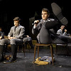 "From the left: Luke Bobbett (as Hanchan Rilow,) Corbin Chaffin ( Melchior Gabor) and Tanner Munson (Moritz Stiefel) rehearse their roles for the Dream Theatre Company production of ""Spring Awakening"" on Wednesday night at the Joplin Little Theatre.<br /> Globe 