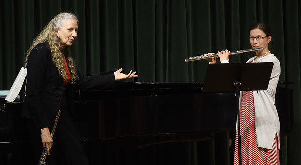 From the left: Dr. Alexa Still, professor at the Oberlin Conservatory of Music, instructs Missouri Southern sudent Julie Sherrod during a flute masterclass on Tuesday at MSSU. Still is widely known as a prominent musician in her native New Zealand.<br /> Globe | Laurie Sisk