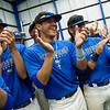 Ian Ortiz, Crowder College sophomore, center, gives a round of applause with the Crowder baseball team for donors to the Freeman Fieldhouse on Tuesday.<br /> Globe | Roger Nomer