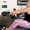 Stephanie Miller does a crossfit workout on Tuesday at the Honey Badger Gym.<br /> Globe | Roger Nomer