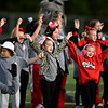 Cheerleaders from the Bulldog Youth Athletic Association perform for the crowd before the start of Carl Junction's football game against Neosho on Friday night at CJHS.<br /> Globe | Laurie Sisk