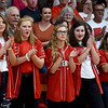 Members of the Liberal softball team cheer for their teammate Brooke Bearden as she is recognized as a Sportscenter Top 10 during a live ESPN broadcast on Thursday morning at Liberal High School. Brooke was acknowledged for her courage after suffering a stroke.<br /> Globe | Laurie Sisk