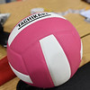 A pink and white volleyball sits on the scorer's table during the The 2019 Pink Out on Tuesday night at Carl Junction High School. The event, in its 12th year, raised $3,975 to benefit the Hope 4 You Breast Cancer Foundation.<br /> Globe | Laurie Sisk