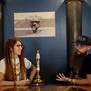 Nate and Tiffany Artinger talk about their brewery Beard Engine in Alba on Thursday. The brewery will feature a beer engine, seen in the center.<br /> Globe | Roger Nomer