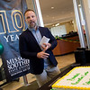 Steven Benfield, director of recreational services at Missouri Southern State University, welcomes visitors to the Beimdiek Recreation Center to celebrate its 10th anniversary on Tuesday.<br /> Globe | Roger Nomer