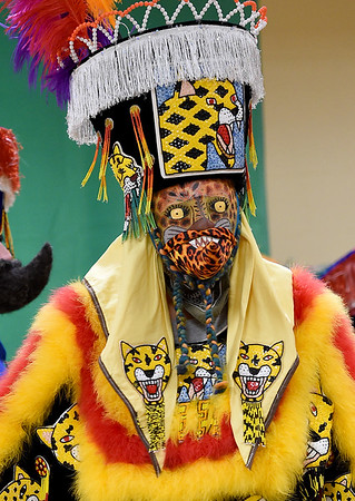 A Chinelos Morelenses dancer, of Springdale, Ark. dons a cheetah-themed costume as the group entertains visitors with their colorful dress and lively music during Hispanic Heritage Day on Saturday at George Washington Carver National Monument. The event also featured arts and crafts, food and more.<br /> Globe   Laurie Sisk