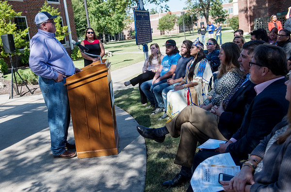 John Berrey, chairman of the Quapaw Nation, speaks during Monday's unveiling of the Centennial Tribal Monument at NEO University on Monday.<br /> Globe | Roger Nomer