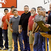XXX, right, honors Liberal firefighters with a proclamation after helping battle the Liberal Elementary School fire recently.<br /> Globe | Laurie Sisk