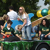 Representatives from the Campus Activities Board hand out candy from their float during Missouri Southern's 2019 Homecoming Parade on Saturday at MSSU.<br /> Globe | Laurie Sisk