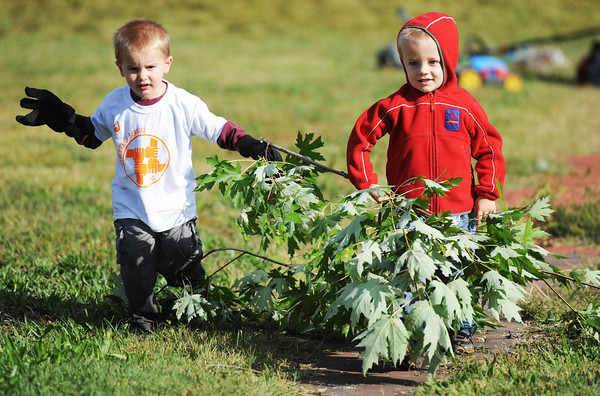 Three-year-olds David Lance (left) and Jacob Rhodes, both of Joplin, help pull discarded tree limbs from a yard during the Great Day of Service, Sunday morning, Sept. 29, 2013, in the 100 block of North Joplin Street.<br /> Globe | T. Rob Brown
