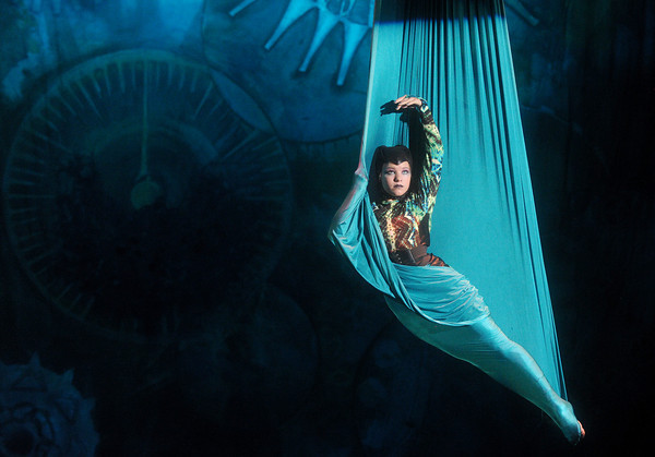"Globe/Roger Nomer<br /> Jenna Garretson, as the Caterpillar, performs on the silk during Midwest Regional Ballet's performance of ""Alice in Steampunk Wonderland"" at Pittsburg's Memorial Auditorium."