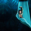 """Globe/Roger Nomer<br /> Jenna Garretson, as the Caterpillar, performs on the silk during Midwest Regional Ballet's performance of """"Alice in Steampunk Wonderland"""" at Pittsburg's Memorial Auditorium."""
