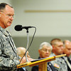 Brig. Gen. J. Marty Robinson (left), assistant adjutant general--Army (support), Missouri Army National Guard, speaks during the Patriot's Day Veterans Award Ceremony Wednesday afternoon, Sept. 11, 2013, at the Missouri National Guard Armory on 32nd Street in Joplin. The event was sponsored by the MOAA Four State Chapter in cooperation with the Guard, the Missouri Veterans Association and the state of Missouri.<br /> Globe | T. Rob Brown