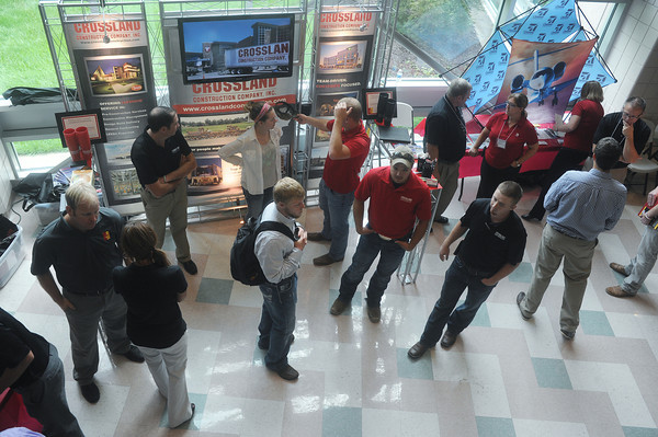 Globe/Roger Nomer<br /> Pittsburg State University students check out the visiting technology companies during Company Day on Wednesday.