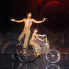 "Globe/Roger Nomer<br /> Sage Brown, as TweedleDee, and Xavier Huffman, as TweedleDum, perform on a bicycle during Midwest Regional Ballet's performance of ""Alice in Steampunk Wonderland"" at Pittsburg's Memorial Auditorium."