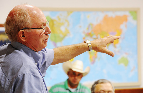 """Jerry White, cattle farm owner in Purdy, talks about a special breed called Wagyu (or literally """"Japanese cattle"""") which is leaner and lower in saturated fats than traditional U.S. varities during Congressman Billy Long's agriculture tour Friday afternoon, Sept. 6, 2013, in Purdy.<br /> Globe 