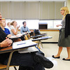 Brandon Dockery (left), an MSSU junior international studies and French major, repeats French words in class as Dr. Karen Turman (right), assistant professor of French, teaches Friday morning, Sept. 27, 2013, in MSSU's Webster Hall.<br /> Globe | T. Rob Brown