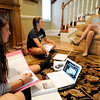 Globe/T. Rob Brown<br /> Lynda Banwart (right) of Joplin works with her daughters, Joplin High School junior Molly Banwart (left) and senior Anna Banwart as they work on homework recently after school.