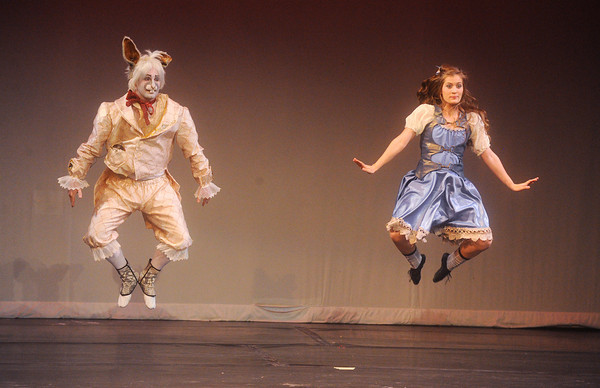 "Globe/Roger Nomer<br /> Seth Harley, as the White Rabbit, and Margaret Kellenberger, as Alice, perform together in the Midwest Regional Ballet's performance of ""Alice in Steampunk Wonderland"" at Pittsburg's Memorial Auditorium."