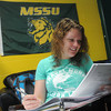 Globe/Roger Nomer<br /> Emma Gustausson, a Missouri Southern junior from Sweden, studies biology on campus on Thursday morning.