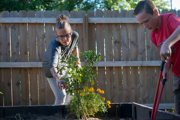 Globe/Roger Nomer<br /> Mandy Gaston helps her partner's son Max Compton, 10, in his garden on Wednesday evening.