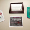 A Breastfeeding Friendly Worksite Award hangs among motivational posters on the walls of the lactation room at Webb City's YMCA Heritage Youth Development Center.<br /> Globe | Laurie Sisk