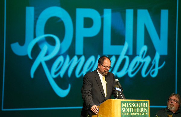 Joplin Globe Publisher Michael Beatty talks about the September 11, 2001 special edition of the Globe during an unveiling of a copy of the front page signed by former President George W. Bush, former U.S. Attorney General John Ashcroft, former New York City mayor Rudy Giuliana and others during a special ceremony on Saturday at Missouri Southern. The signed special edition will be on display at the Joplin Museum Complex.<br /> Globe | Laurie Sisk