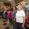 Members of the Pittsburg Multi-generational Choir rehearse on Thursday at PHS.<br /> Globe | Laurie Sisk