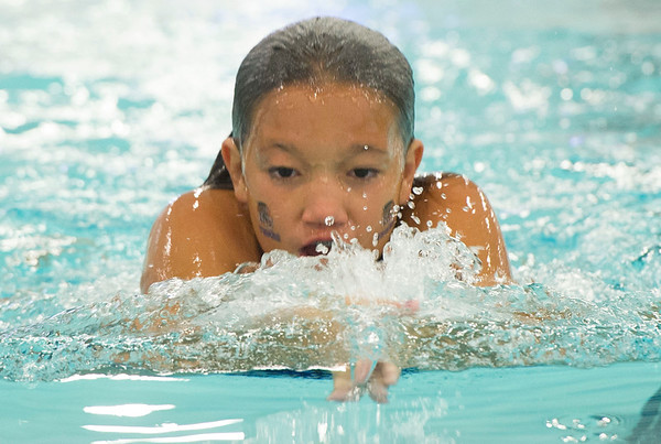 Victoria Martinez, 11, works on her breaststroke  with the CatTracks swim team last week at the Fair Acres Family YMCA in Carthage.<br /> Globe | Laurie Sisk