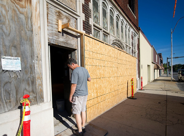 Contractor Jeff Neal, of Neal Group Construction, stands near the entrance of the Hurlbut Building that he is renovating for office space on at 212 S. Joplin. The building was constructed in 1921 and served as a mortuary before housing the Salvation Army for decades.<br /> Globe | Laurie Sisk