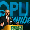 Former U.S. Attorney General John Ashcroft talks about the events of  the September 11, 2001  during an unveiling of a copy of the front page of the Joplin Globe special edition signed by former President George W. Bush, former U.S. Attorney General John Ashcroft, former New York City mayor Rudy Giuliana and others during a special ceremony on Saturday at Missouri Southern. The signed special edition will be on display at the Joplin Museum Complex.<br /> Globe | Laurie Sisk