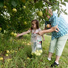 Globe/Roger Nomer<br /> Ellisyn Jones, 4, helps her grandmother Sara Mitchell pick apples on lower branches on Tuesday at Murphy Orchard.