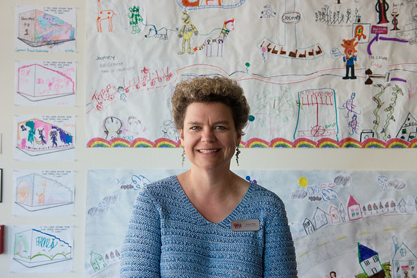 Globe/Roger Nomer<br /> Josie Mai, executive director at the Spiva Center for the Arts, talks about an educational project she enjoyed with students envisioning the East Town Mural on Thursday.