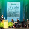 From the left: Joplin Globe Publisher Michael Beatty, Steve McIntosh, former U.S. Sen. Jim Talent, former U.S. Attorney General John Ashcroft and Joplin Historical Society President Allen Shirley watch a video regarding the September 11, 2001 special edition of the Globe during an unveiling of a copy of the front page signed by former President George W. Bush, former U.S. Attorney General John Ashcroft, former New York City mayor Rudy Giuliana and others during a special ceremony on Saturday at Missouri Southern. The signed special edition will be on display at the Joplin Museum Complex.<br /> Globe | Laurie Sisk