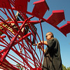 Globe/Roger Nomer<br /> Jorge Leyva unloads one of his sculptures at his studio on Thursday afternoon.