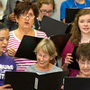 Pittsburg High School students and community members rehearse side-by-side with the Pittsburg Multi-generational Choir on Thursday at PHS. Pictured, bottom to top from the left: Kamryn Kelley, Corene Stroup, Linda Coltrane, Glenda Uttley and Mikayla Kitchen.<br /> Globe | Laurie Sisk