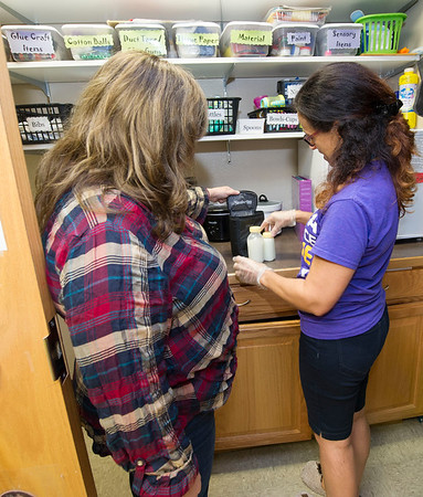 From the left: Lisa Williams, administrator for Webb City's YMCA Heritage Youth Development Center, and lead infant room teacher Dalis Mahaffey organize mothers' breast milk for refrigeration on Wednesday at the center.<br /> Globe | Laurie Sisk