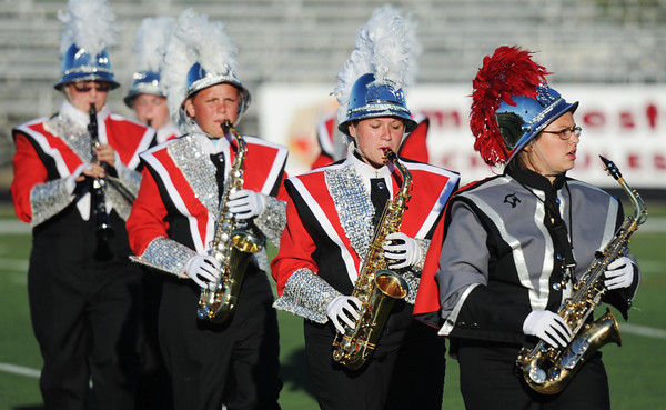 Globe/T. Rob Brown<br /> The Touch of Class Marching Cardinals from Miller High School perform as class champions during the finals Saturday, Sept. 22, 2012, during the eighth annual Webbstock marching festival at Webb City High School Cardinal Stadium.